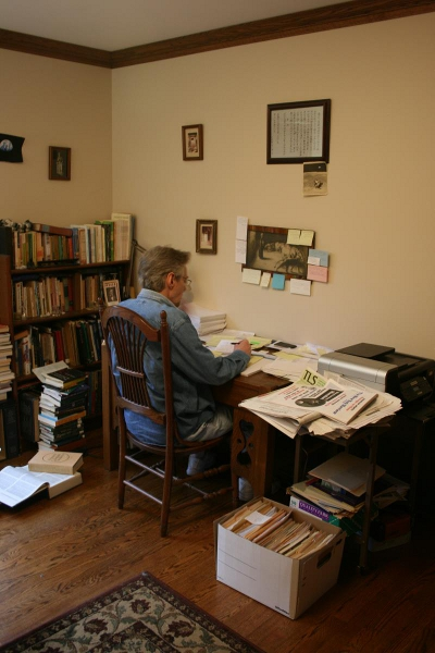 Writing desk, working on BOOK IV